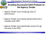 avoiding successful gao protests on the agency tender