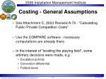costing general assumptions