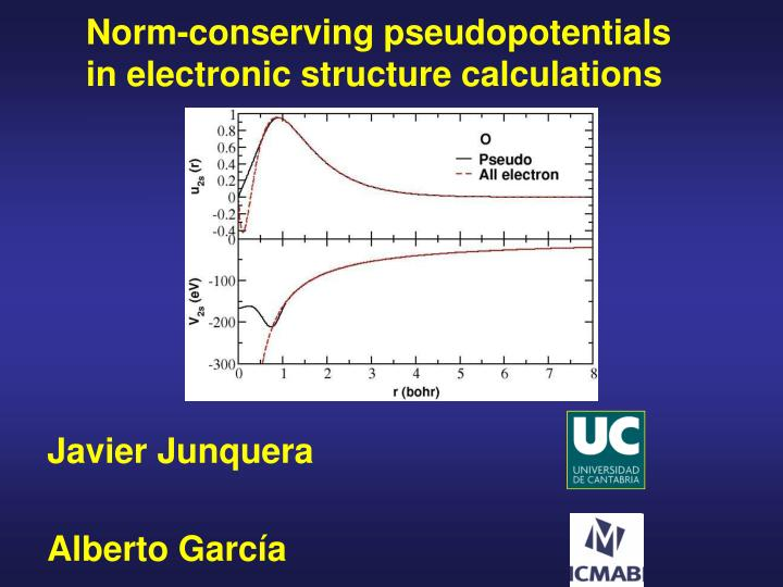 norm conserving pseudopotentials in electronic structure calculations n.