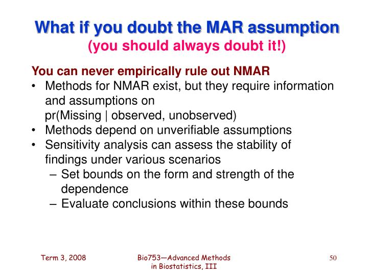 What if you doubt the MAR assumption
