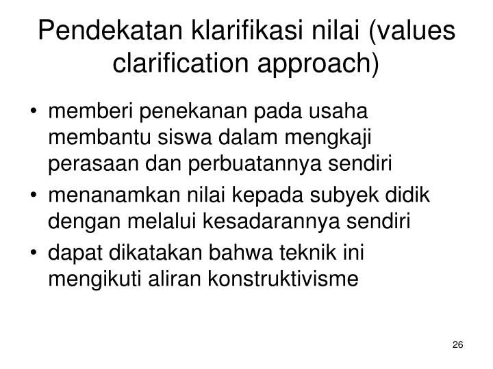 Pendekatan klarifikasi nilai (values clarification approach)