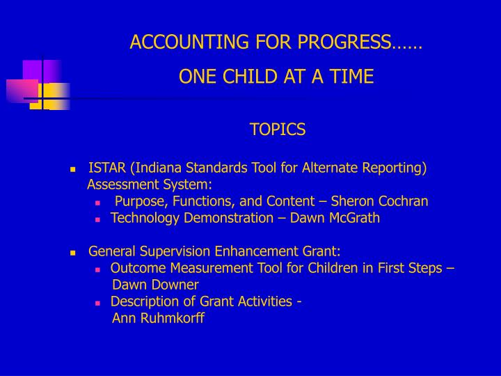 Accounting for progress one child at a time