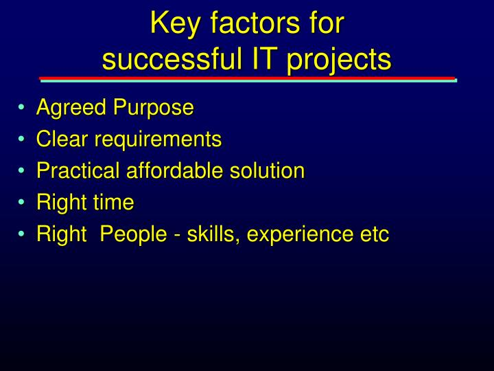 Key factors for