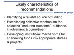 likely characteristics of recommendations