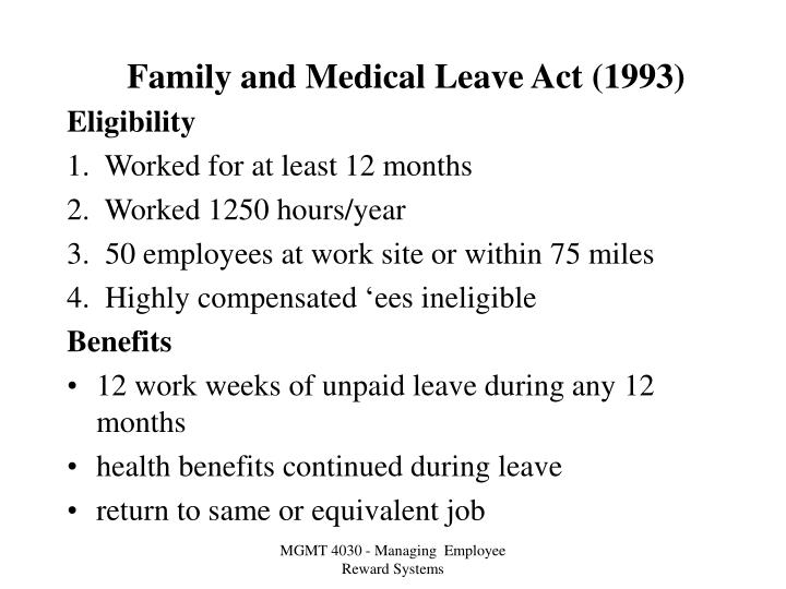 Family and medical leave act 1993