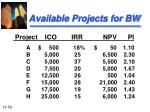 available projects for bw