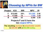 choosing by npvs for bw