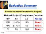 evaluation summary