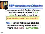 pbp acceptance criterion