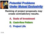 potential problems under mutual exclusivity