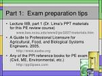 part 1 exam preparation tips