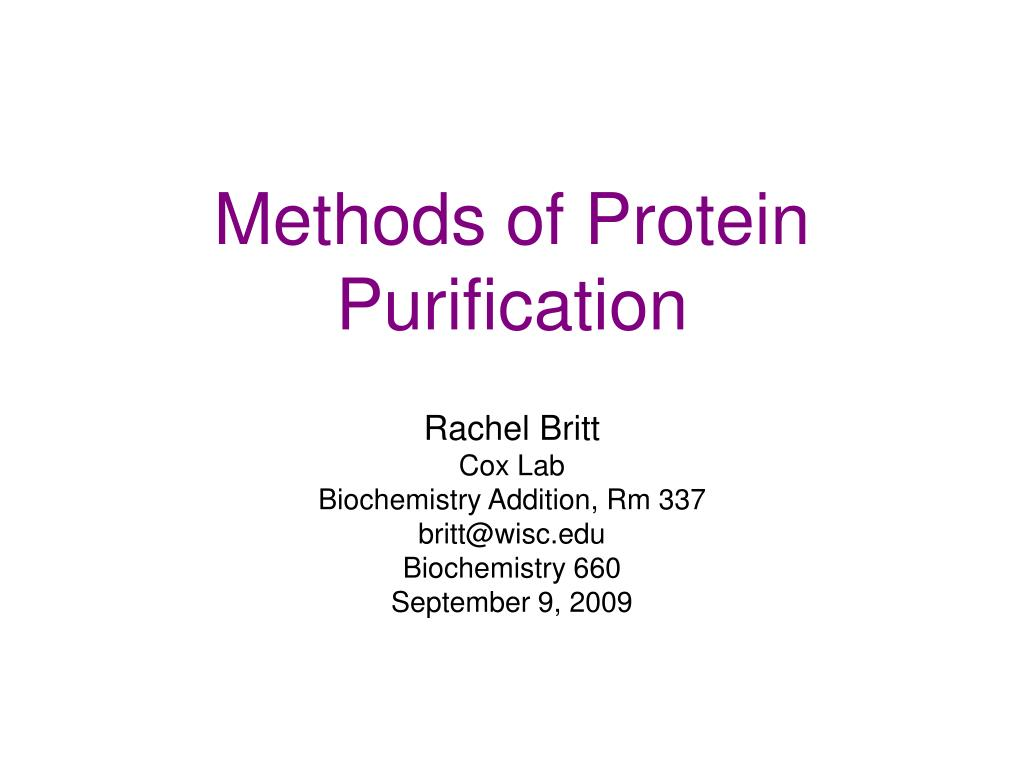 methods of protein purification l.