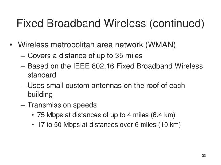Fixed Broadband Wireless (continued)