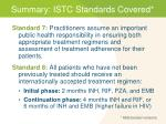 summary istc standards covered