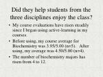 did they help students from the three disciplines enjoy the class