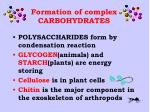 formation of complex carbohydrates