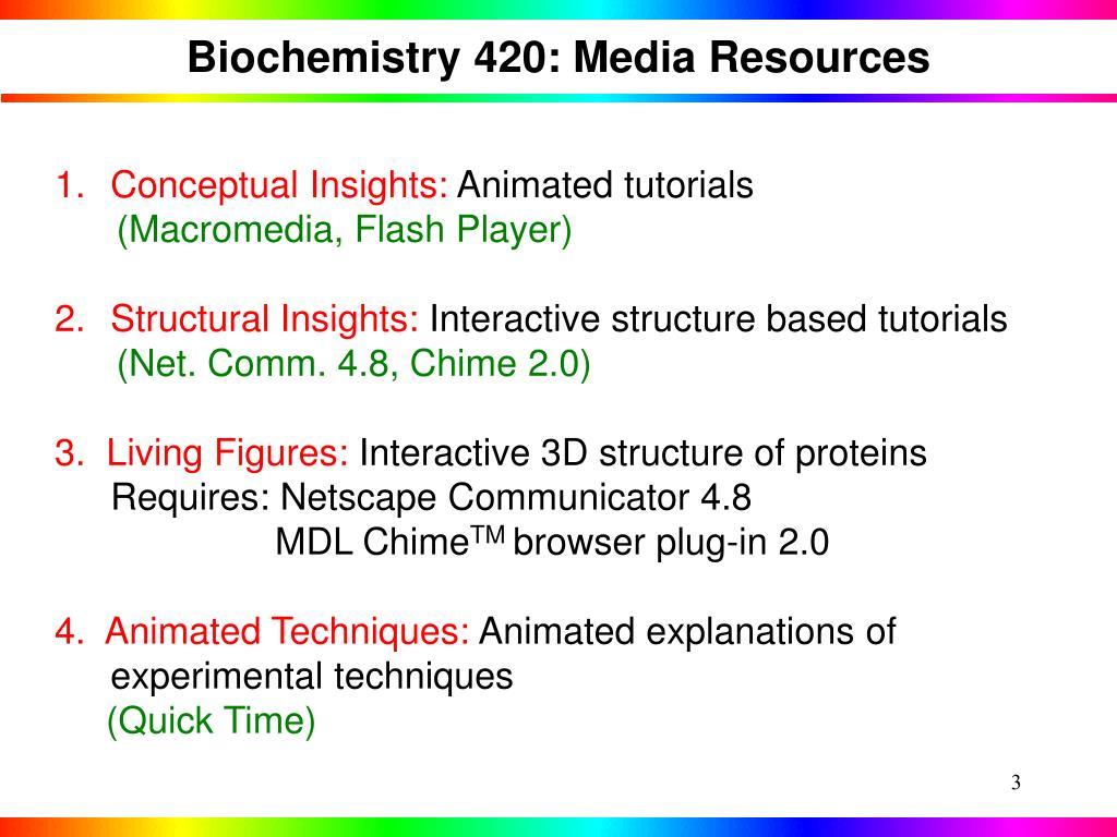 Biochemistry 420: Media Resources