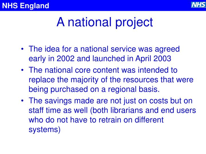 A national project