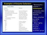 examples of enzyme cofactors