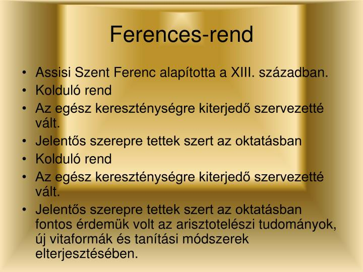 Ferences-rend