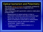 optical isomerism and polarimetry