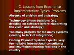 c lessons from experience implementation typical problems