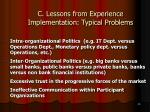 c lessons from experience implementation typical problems26