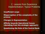 c lessons from experience implementation typical problems27