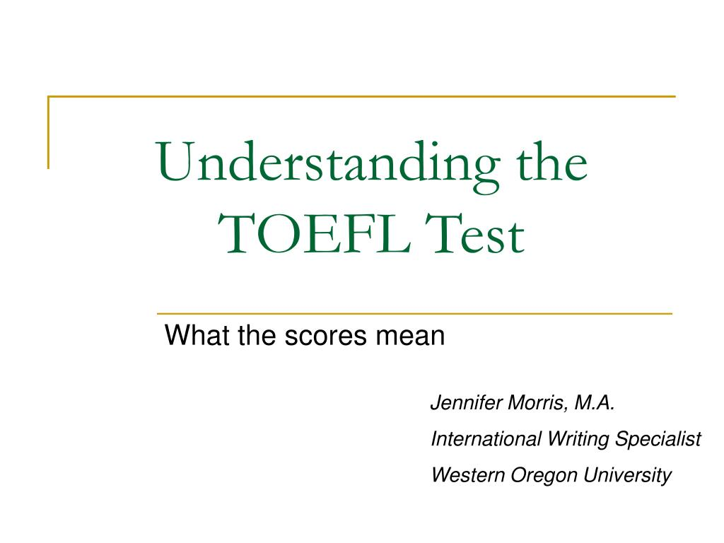 understanding the toefl test l.