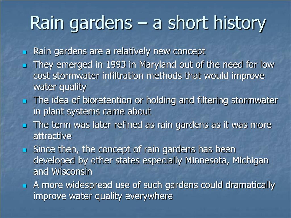 Rain gardens – a short history