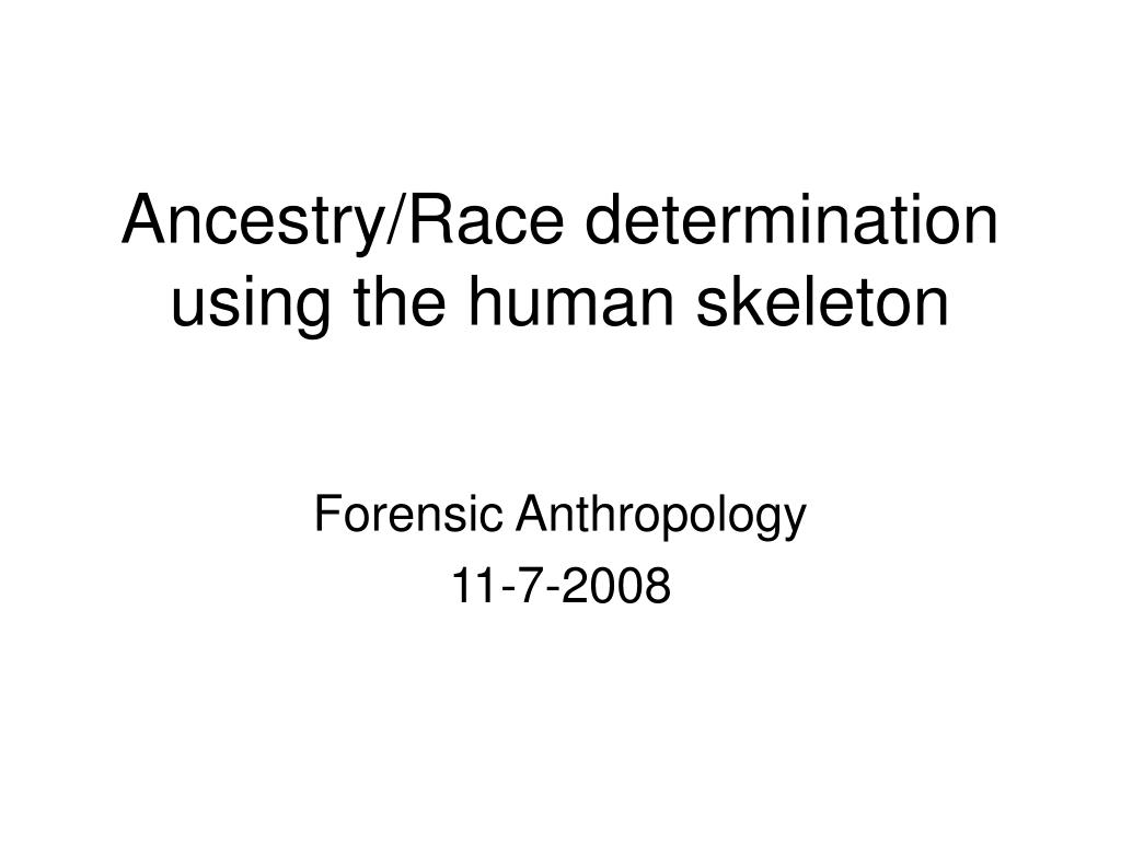ancestry race determination using the human skeleton l.