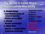 the weiss 6 level motor organization hierarchy