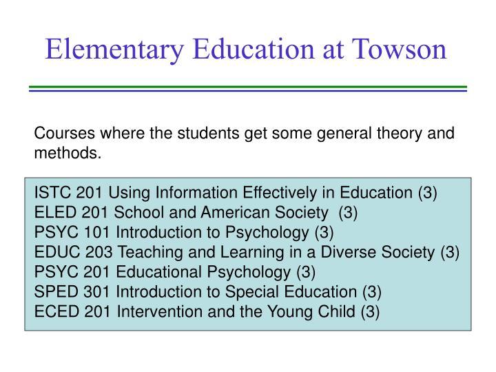 Elementary education at towson