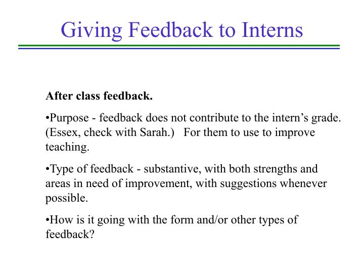 Giving Feedback to Interns