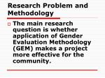 research problem and methodology
