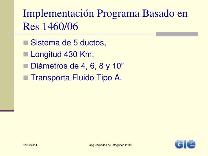 Implementación Programa Basado en Res 1460/06