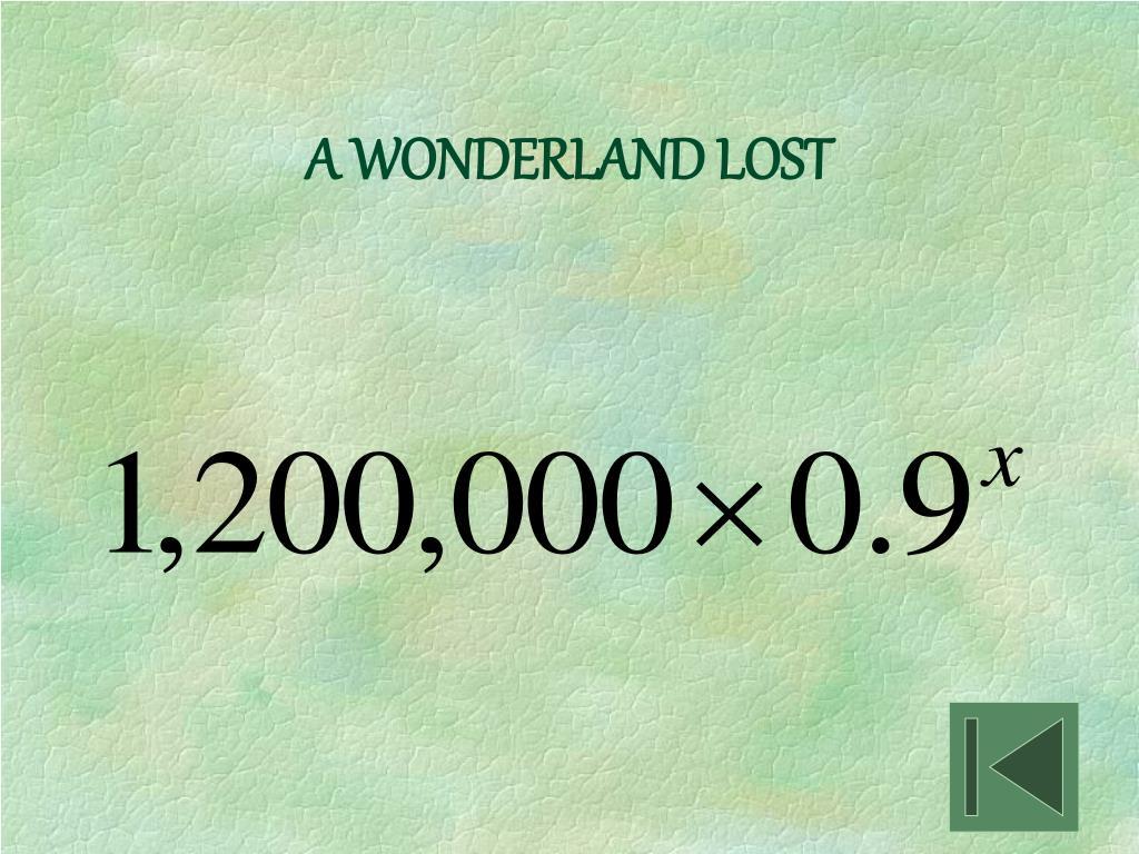 A WONDERLAND LOST