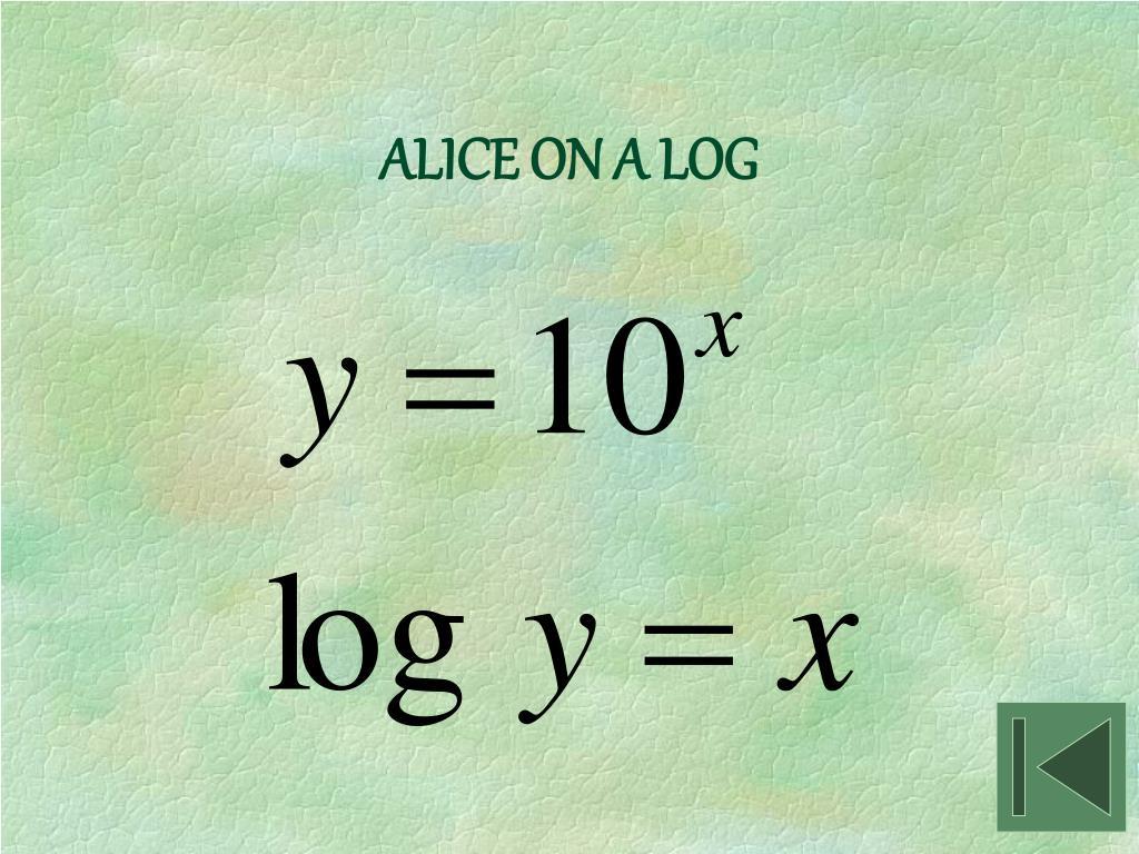ALICE ON A LOG