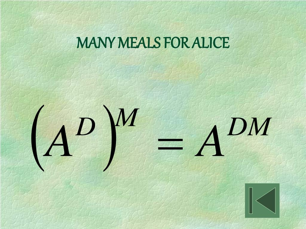 MANY MEALS FOR ALICE