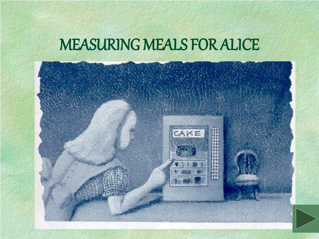 MEASURING MEALS FOR ALICE