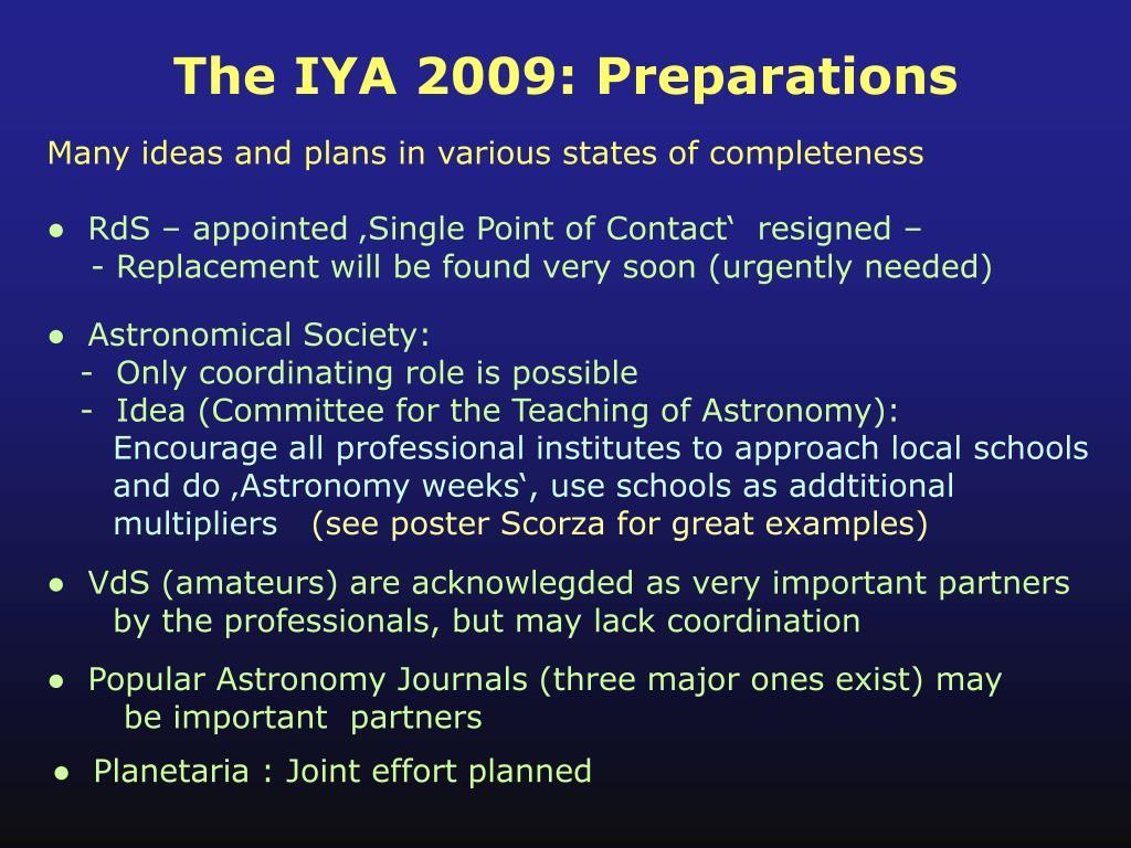The IYA 2009: Preparations