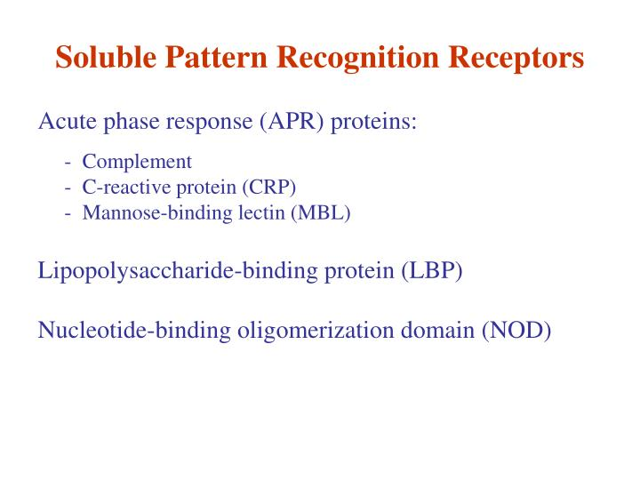 Soluble Pattern Recognition Receptors