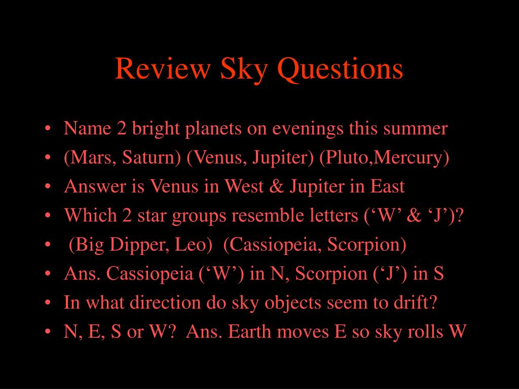 Review Sky Questions