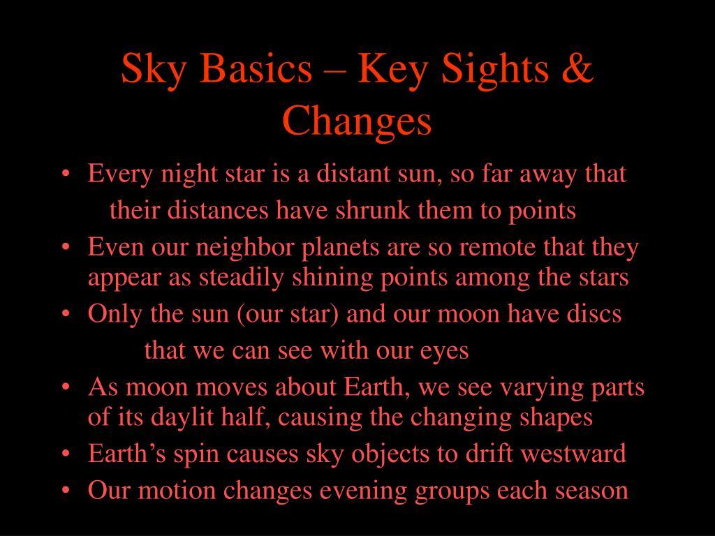 Sky Basics – Key Sights & Changes
