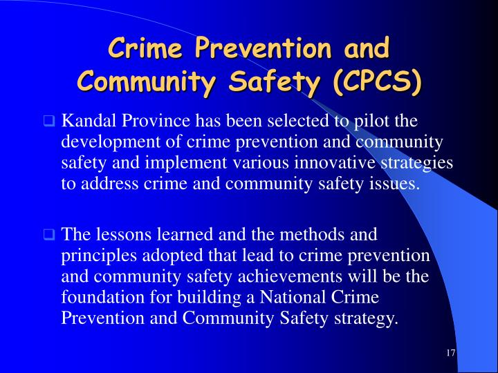 Crime Prevention and Community Safety (CPCS)