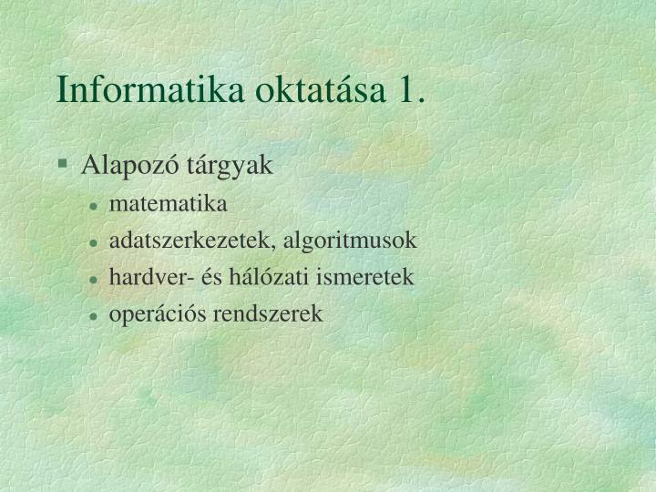 Informatika oktatása 1.