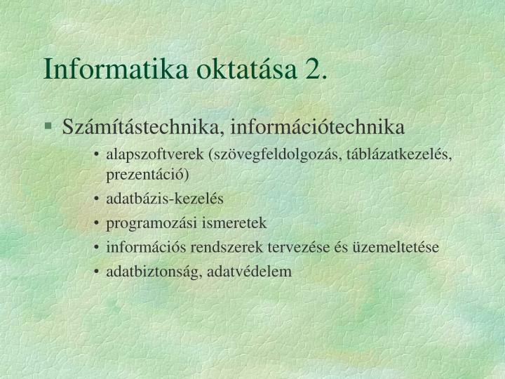 Informatika oktatása 2.