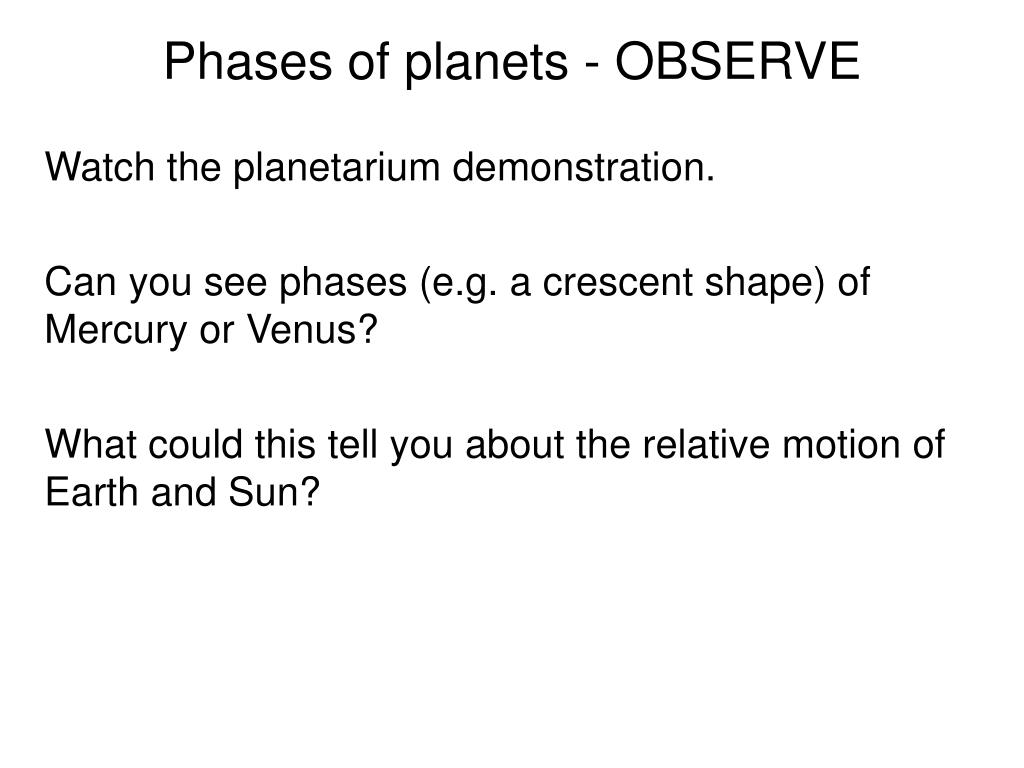 Phases of planets - OBSERVE