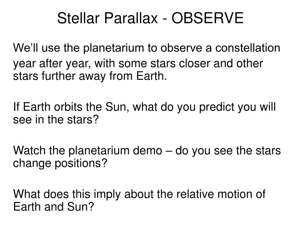 Stellar Parallax - OBSERVE
