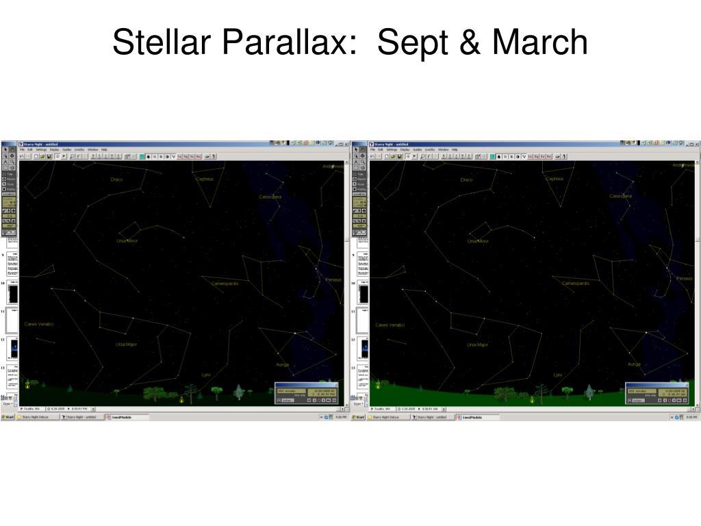 Stellar Parallax:  Sept & March